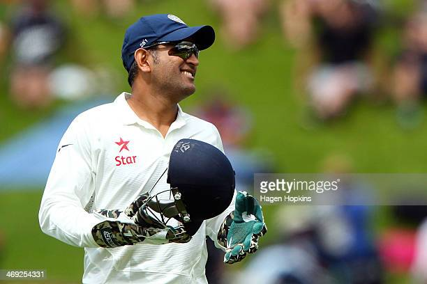 Dhoni of India looks on during day one of the 2nd Test match between New Zealand and India on February 14 2014 in Wellington New Zealand