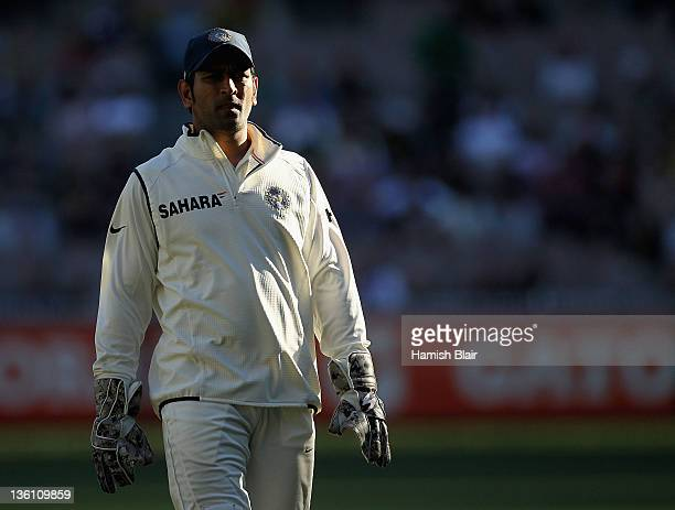 Dhoni of India looks on during day one of the First Test match between Australia and India at Melbourne Cricket Ground on December 26 2011 in...