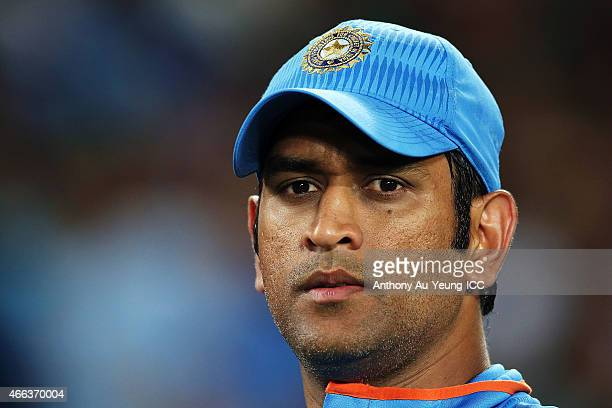 Dhoni of India looks on during the 2015 ICC Cricket World Cup match between India and Zimbabwe at Eden Park on March 14 2015 in Auckland New Zealand
