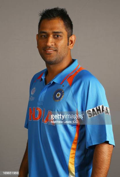 Dhoni of India poses during an India Portrait Session at the Hyatt Hotel ahead of the ICC Champions Trophy at Edgbaston on May 30 2013 in Birmingham...