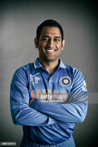 MS Dhoni of India poses during the India 2015 ICC Cricket World Cup Headshots Session at the Intercontinental on February 7 2015 in Adelaide Australia