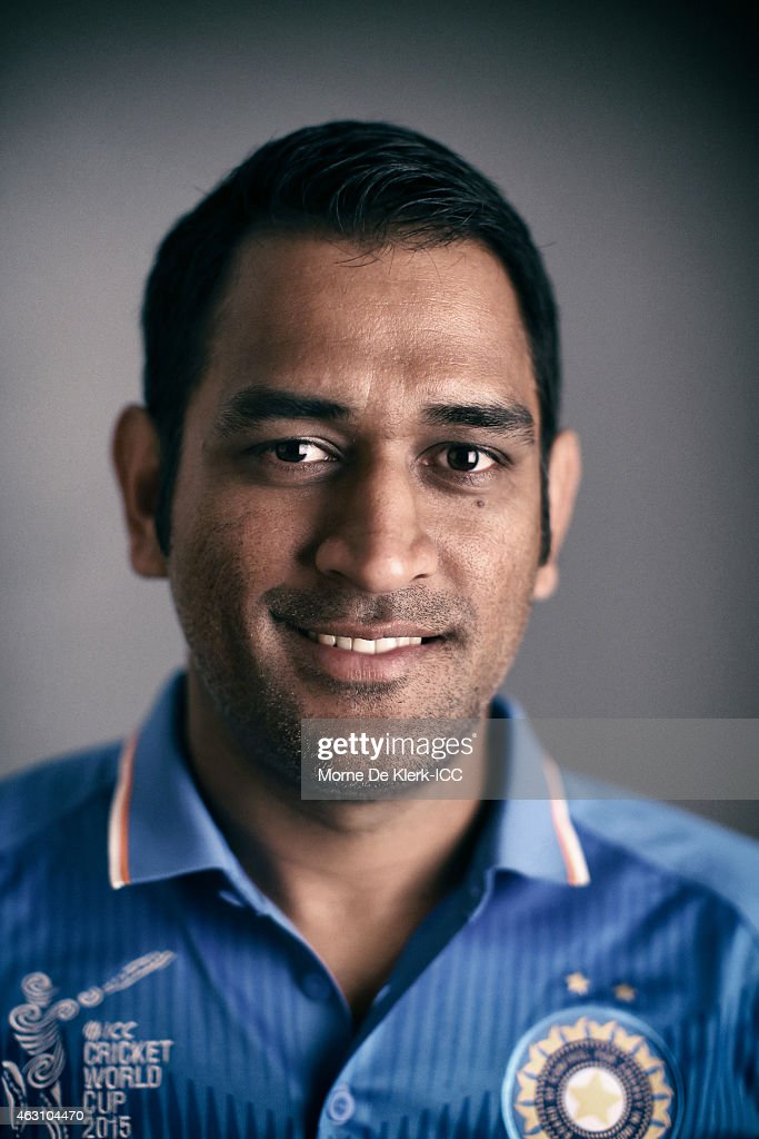 MS Dhoni of India poses during the India 2015 ICC Cricket World Cup Headshots Session at the Intercontinental on February 7, 2015 in Adelaide, Australia.