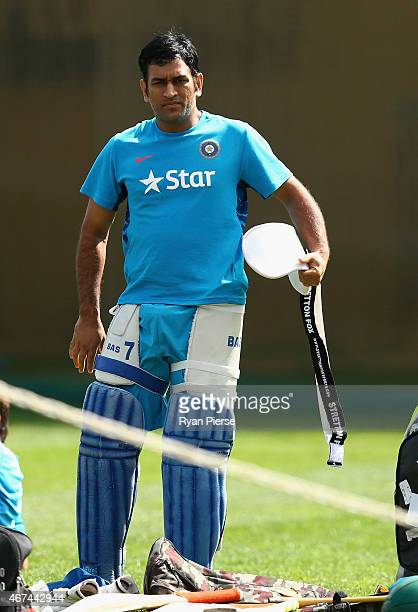 Dhoni of India preapres to bat during the India nets session at Sydney Cricket Ground on March 25 2015 in Sydney Australia