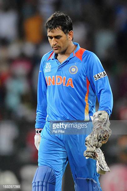 Dhoni of India reacts after India failed to qualify for the Semi Finals during the ICC World Twenty20 2012 Super Eights Group 2 match between South...