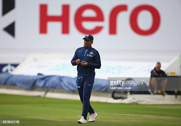 Dhoni of Inida in action during a India nets session ahead of the first Investec Test Series at Trent Bridge on July 8 2014 in Nottingham England
