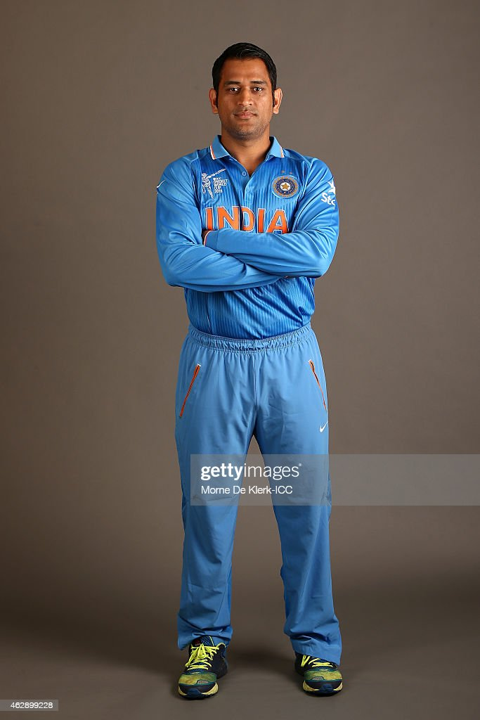 MS Dhoni poses during the India 2015 ICC Cricket World Cup Headshots Session at the Intercontinental on February 7, 2015 in Adelaide, Australia.