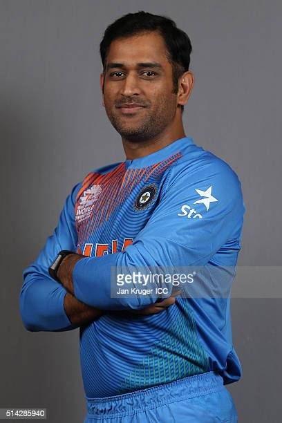 Dhoni poses during the India Headshots session ahead of the ICC Twenty20 World Cup on March 8 2016 in Kolkata India