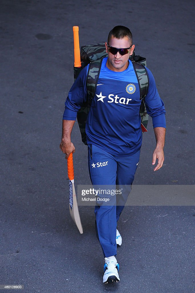 Dhoni walks to the nets during an India Training Session at Adelaide Oval on December 8, 2014 in Adelaide, Australia. Dhoni was earlier announced at a press conference as being withdrawn from the test starting tomorrow in Adelaide.