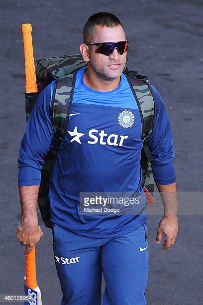 Dhoni walks to the nets during an India Training Session at Adelaide Oval on December 8 2014 in Adelaide Australia Dhoni was earlier announced at a...