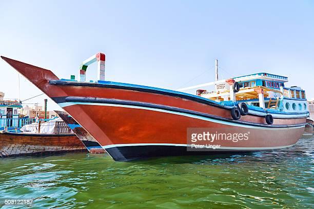 Dhow boat moored on the Dubai Creek