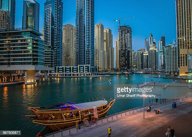 Dhow cruise boat with Dubai Marina View