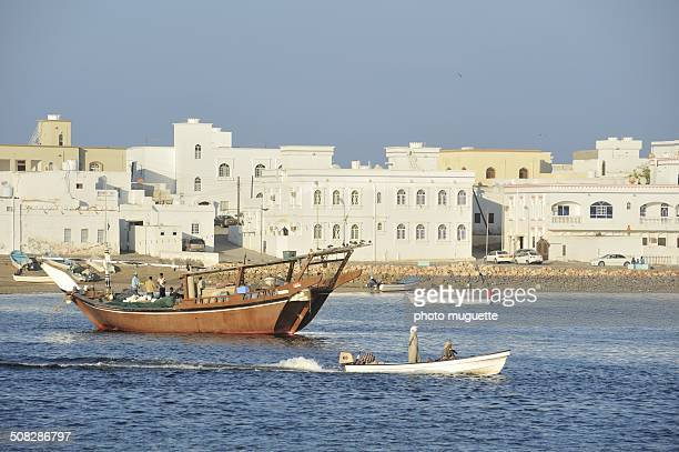 Dhow in the harbor of Sur in Oman
