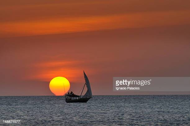 Dhow on Indian Ocean at sunset.