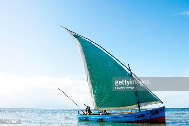 Dhow sailing off coast of Vilanculos.