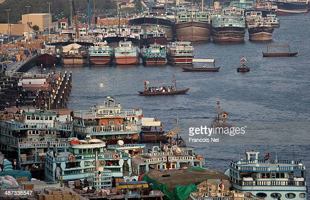 Dhows sit docked ready for cargo to be loaded at Dubai Creek on April 29 2014 in Dubai United Arab Emirates