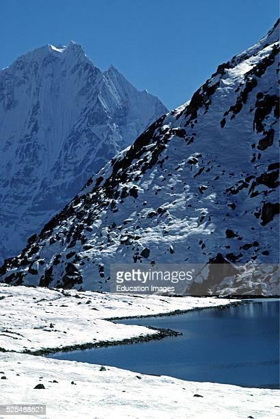 Dhud Pokhari With Thamserku Peak In The Background Gokyo Khumbu District Nepal