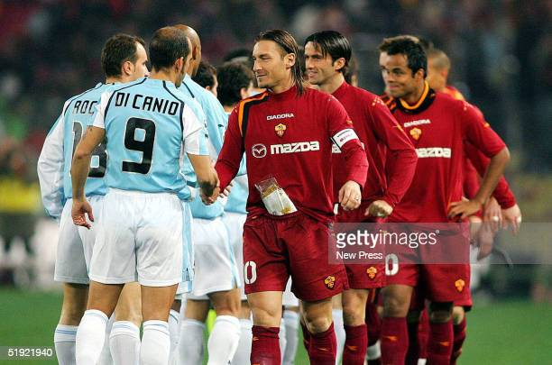 Di Canio of Lazio shakes hands with Totti of Roma after their Serie A match at the Olympic Stadium January 6 2005 in Rome Italy