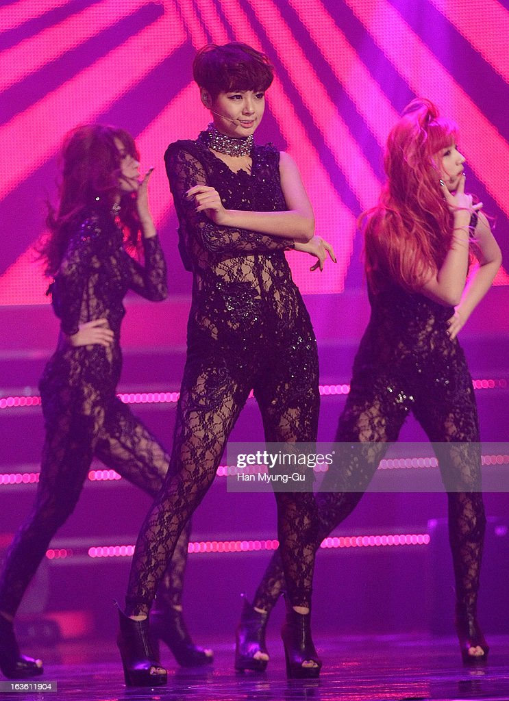 Di of South Korean girl group Rania performs onstage during the MBC Music 'Show Champion' at Uniqlo-AX Hall on March 13, 2013 in Seoul, South Korea.