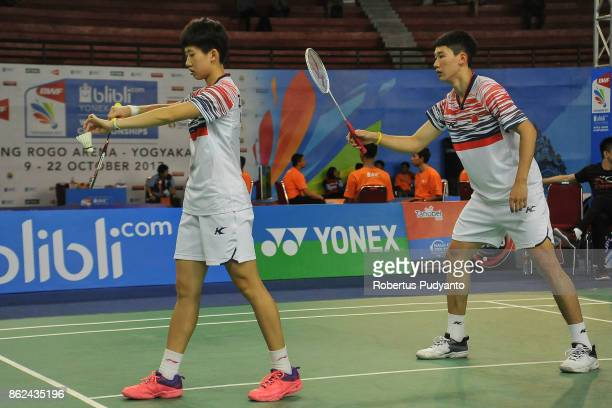 Di Zijian and Zhang Shuxian of China compete against Sean Noone and Anicka Bestbier of Republic South Africa during Mixed Double qualification round...