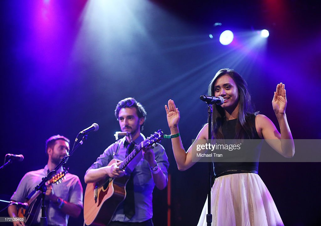 <a gi-track='captionPersonalityLinkClicked' href=/galleries/search?phrase=Dia+Frampton&family=editorial&specificpeople=4237522 ng-click='$event.stopPropagation()'>Dia Frampton</a> performs at the Friend Movement Campaign benefit concert held at El Rey Theatre on July 1, 2013 in Los Angeles, California.