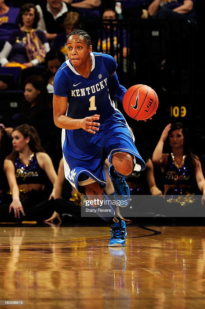 A'dia Mathies of the Kentucky Wildcats brings the ball upcourt against the LSU Tigers during a game at the Pete Maravich Assembly Center on February...