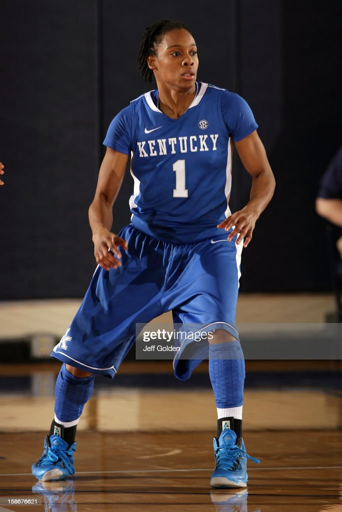 A'dia Mathies of the Kentucky Wildcats defends against the Pepperdine Waves at Firestone Fieldhouse on December 18 2012 in Malibu California Kentucky...