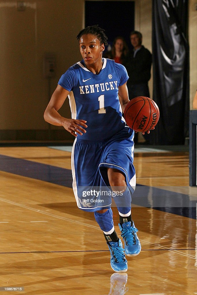 A'dia Mathies of the Kentucky Wildcats dribbles against the Pepperdine Waves at Firestone Fieldhouse on December 18 2012 in Malibu California...