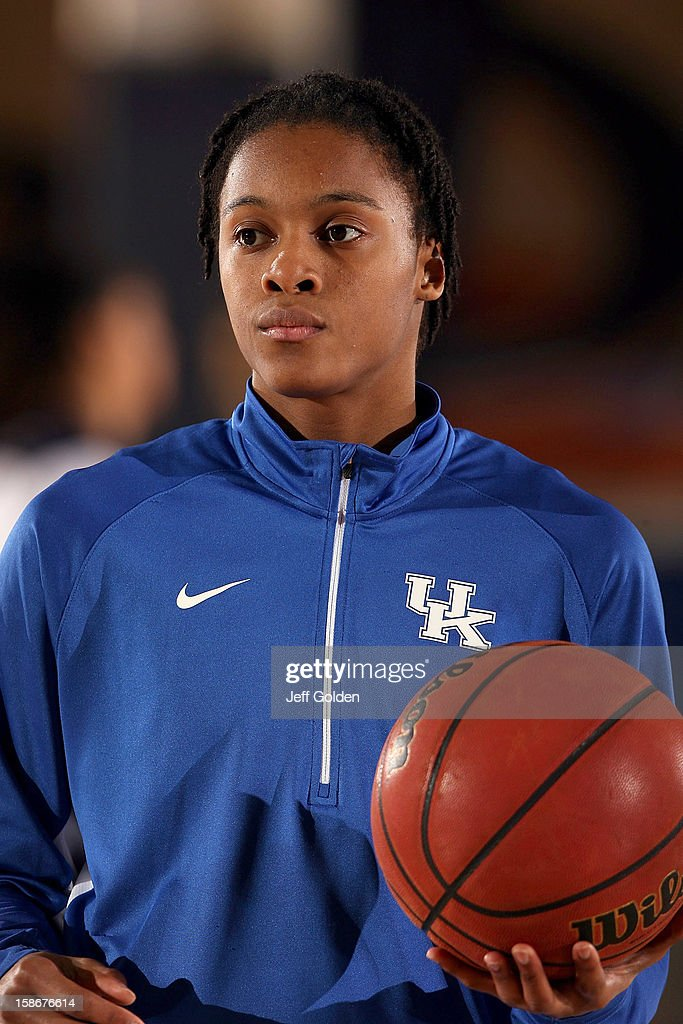 A'dia Mathies of the Kentucky Wildcats looks on during warmups as she holds a basketball in her left hand before the game against the Pepperdine...