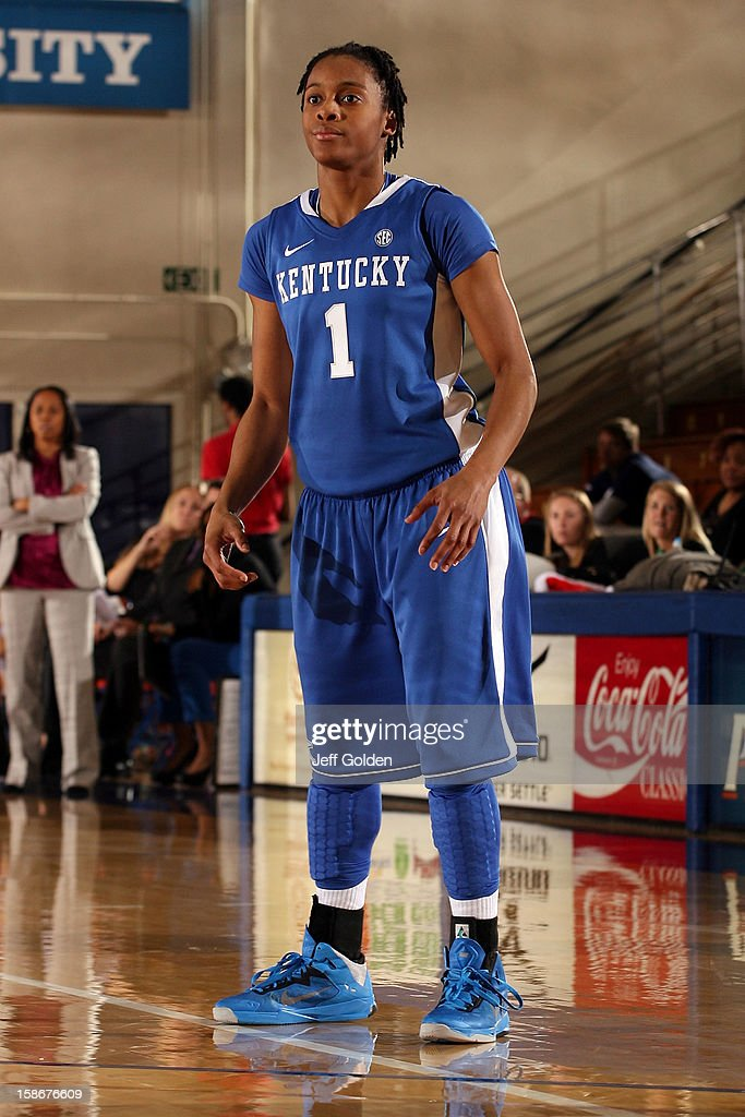 A'dia Mathies of the Kentucky Wildcats positions against the Pepperdine Waves at Firestone Fieldhouse on December 18 2012 in Malibu California...