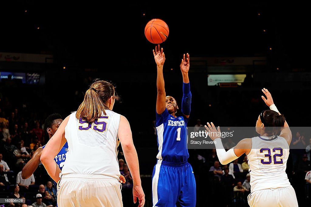 A'dia Mathies of the Kentucky Wildcats shoots over Danielle Ballard of the LSU Tigers during a game at the Pete Maravich Assembly Center on February...