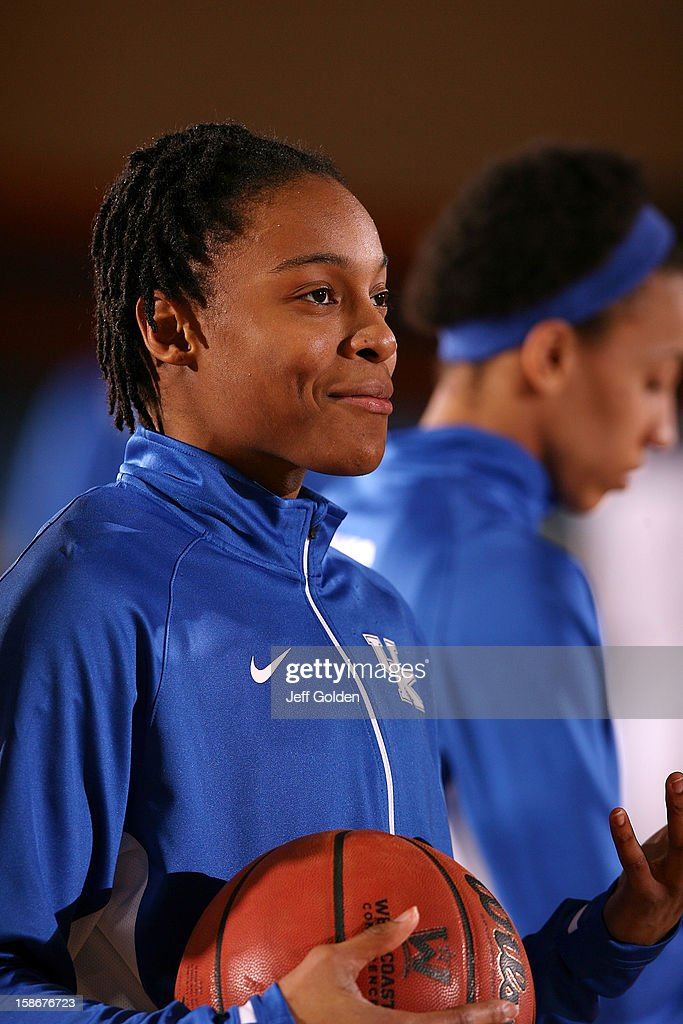 A'dia Mathies #1 of the Kentucky Wildcats smiles during warmups before the game against the Pepperdine Waves at Firestone Fieldhouse on December 18, 2012 in Malibu, California. Kentucky won 80-62.