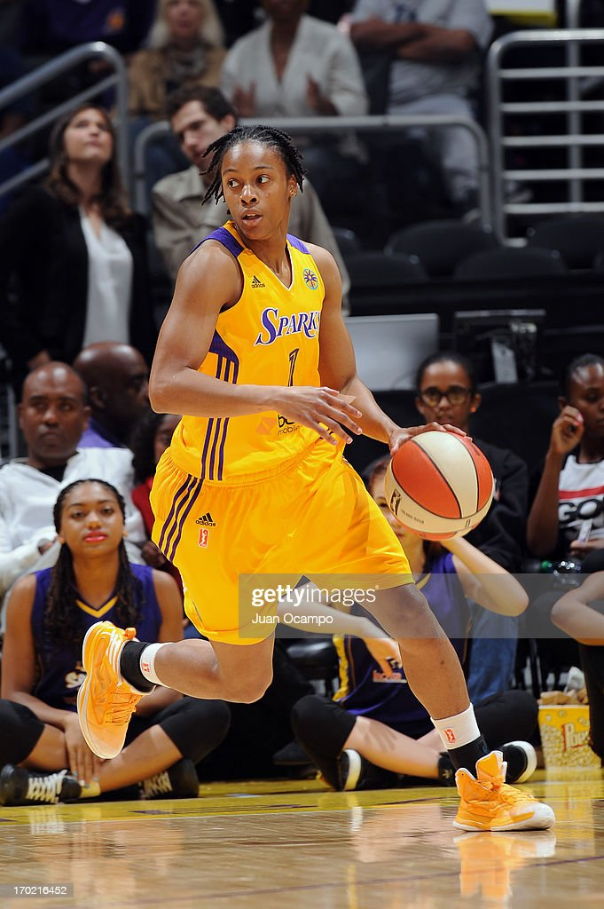 A'dia Mathies of the Los Angeles Sparks drives up court during the game between the Los Angeles Sparks and the Tulsa Shock at Staples Center on June...