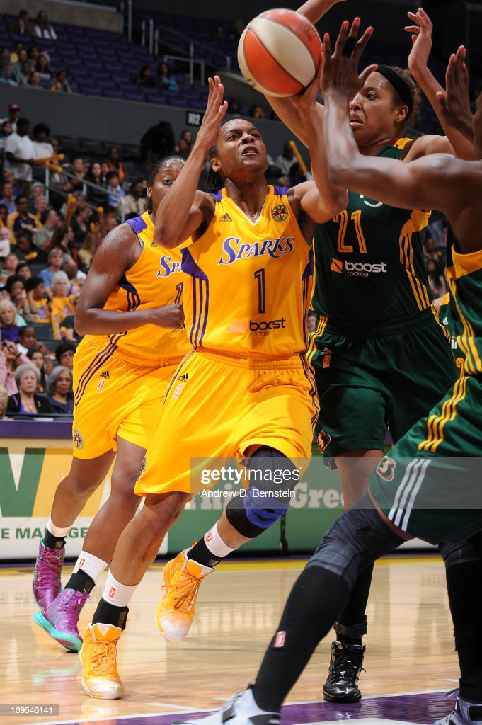 A'dia Mathies of the Los Angeles Sparks goes up for a layup during a game against the Seattle Storm at Staples Center on May 26 2013 in Los Angeles...