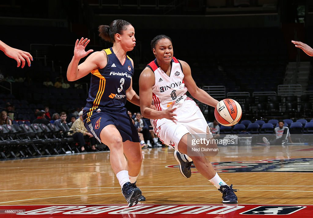 A' dia Mathies #0 of the Washington Mystics drives against Haiden Palmer #3 of the Indiana Fever at the Verizon Center on May 7, 2014 in Washington D.C.