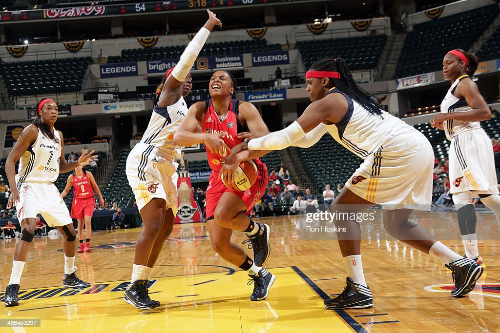 A'dia Mathies of the Washington Mystics drives to the basket against the Indiana Fever during the WNBA preseason game on May 6 2014 at Bankers Life...
