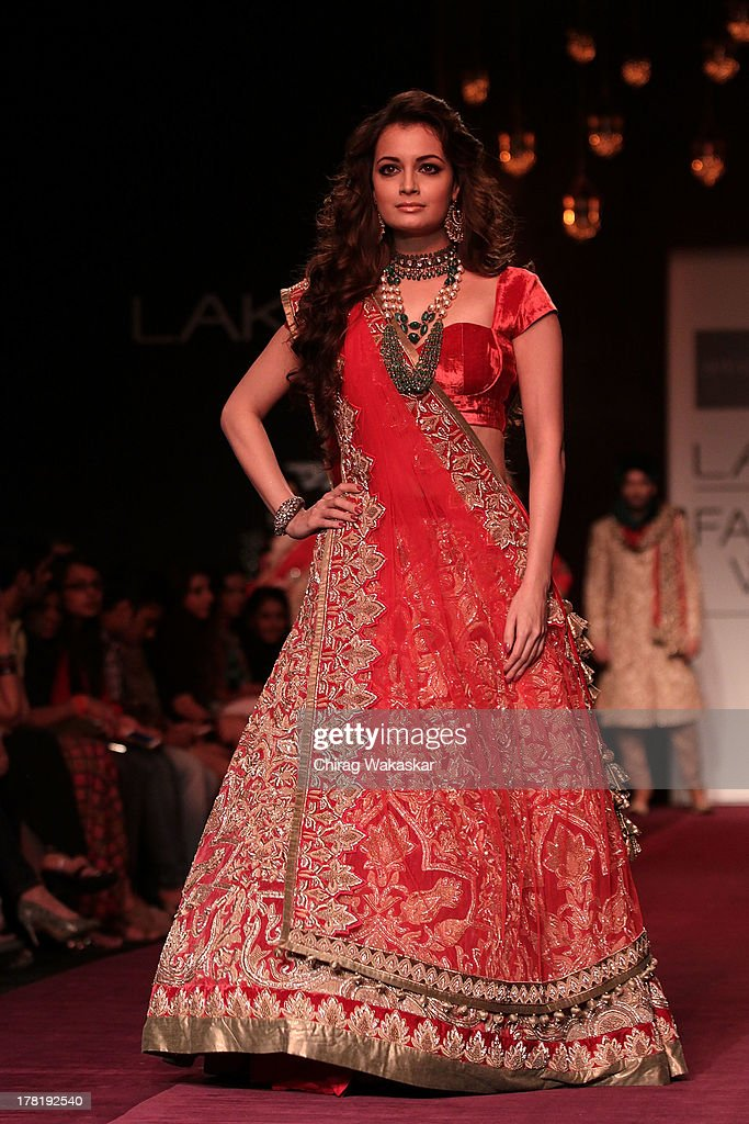 <a gi-track='captionPersonalityLinkClicked' href=/galleries/search?phrase=Dia+Mirza&family=editorial&specificpeople=696826 ng-click='$event.stopPropagation()'>Dia Mirza</a> showcases designs by Shyamal & Bhumika during day 5 of Lakme Fashion Week Winter/Festive 2013 at the Hotel Grand Hyatt on August 27, 2013 in Mumbai, India.