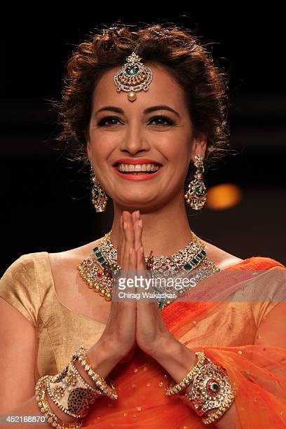 Dia Mirza walks the runway in an Shobha Shringar design during day 1 of the India International Jewellery Week 2014 at grand Hyatt on July 14 2014 in...