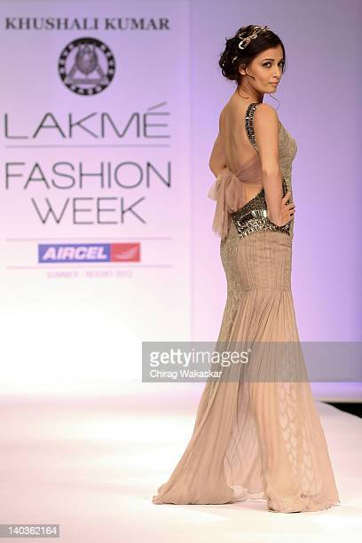 Dia Mirza walks the runway of Khushali Kumar show at Lakme Fashion Week Summer/Resort 2012 Day 1 at the Grand Hyatt on March 2 2012 in Mumbai In