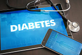 Diabetes (endocrine disease) diagnosis medical concept on tablet screen with stethoscope.