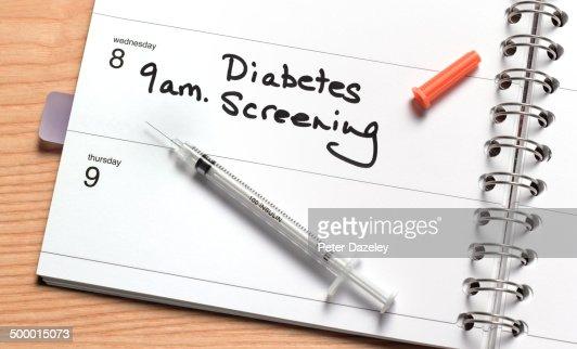 Diabetes screening in diary