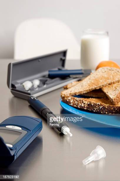 Diabetic equipment and a suitable breakfast.