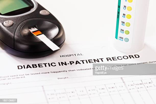 Diabetic in-patient record form with glucometer