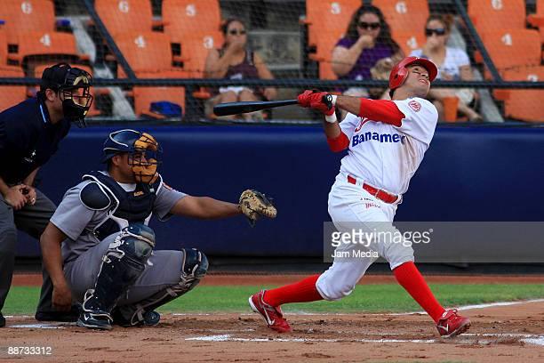 Diablos player Oscar Robles during their game against Sultanes of Monterrey valid for Mexican BaseBall League 2009 at Stadium Monterrey on June 28...