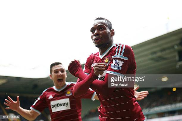 Diafra Sakho of West Ham celebrates after scoring his team's second goal during the Barclays Premier League match between Tottenham Hotspur and West...