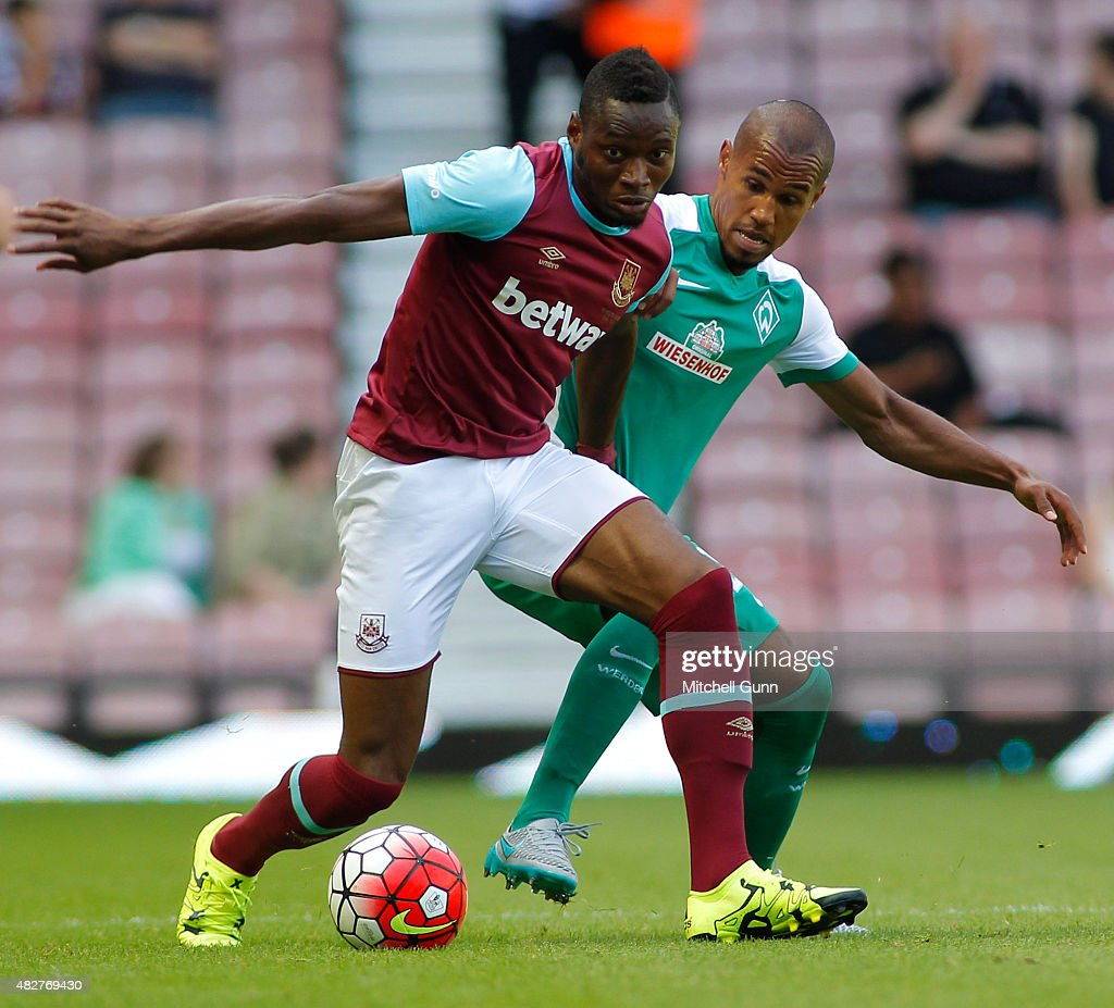 Diafra Sakho of West Ham during the Betway Cup match between West Ham United and Werder Bremen at Boleyn Ground on August 2, 2015 in London, England.