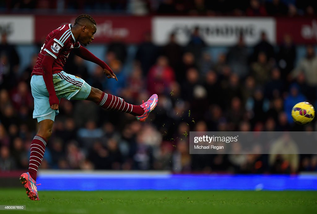 Diafra Sakho of West Ham scores their third goal during the Barclays Premier League match between West Ham United and Swansea City at Boleyn Ground on December 7, 2014 in London, England.