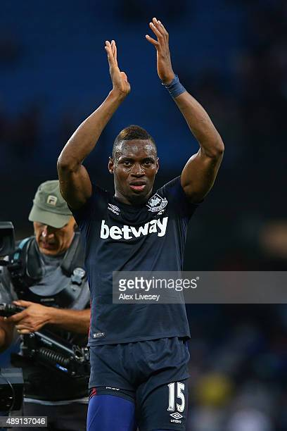 Diafra Sakho of West Ham United applauds the fans after during the Barclays Premier League match between Manchester City and West Ham United at...