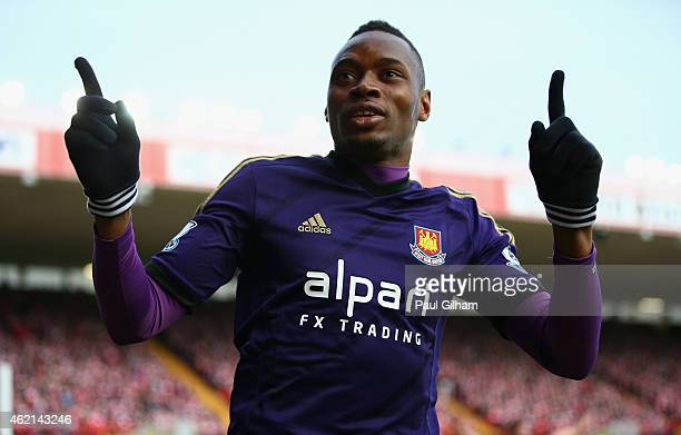 Diafra Sakho of West Ham United celebrates scoring his side's opening goal during the FA Cup Fourth Round match between Bristol City and West Ham...