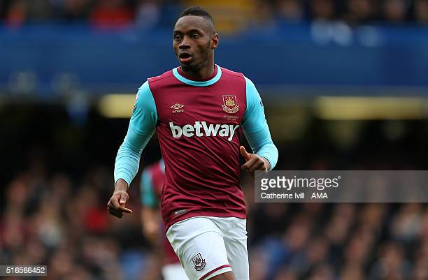 Diafra Sakho of West Ham United during the Barclays Premier League match between Chelsea and West Ham United at Stamford Bridge on March 19 2016 in...