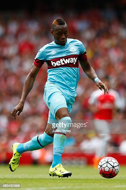 Diafra Sakho of West Ham United in action during the Barclays Premier League match between Arsenal and West Ham United at the Emirates Stadium on...